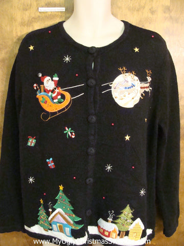 Santa and Reindeer Corny Cheesy Christmas Sweater