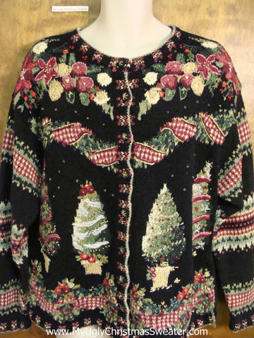 Horrible 80s Trees Corny Cheesy Christmas Sweater