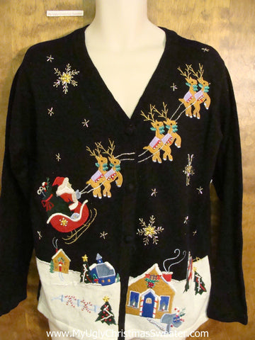 Santa and Flying Reindeer Corny Cheesy Christmas Sweater