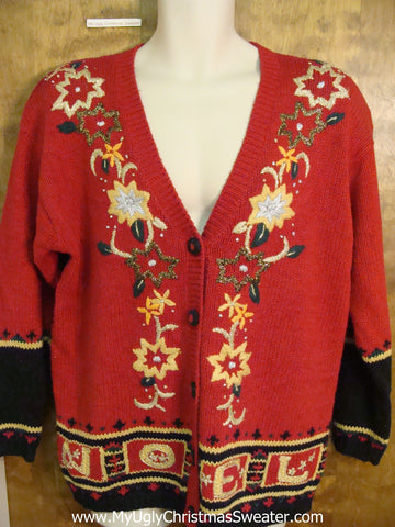 Corny Cheesy 80s Red Christmas Sweater with Poinsettias
