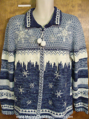 Blue Icy Fun Corny Cheesy Christmas Sweater