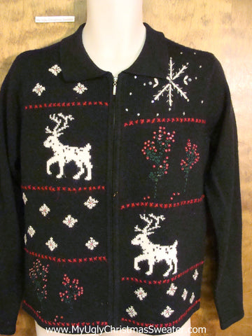 Prancing Reindeer Corny Cheesy Christmas Sweater