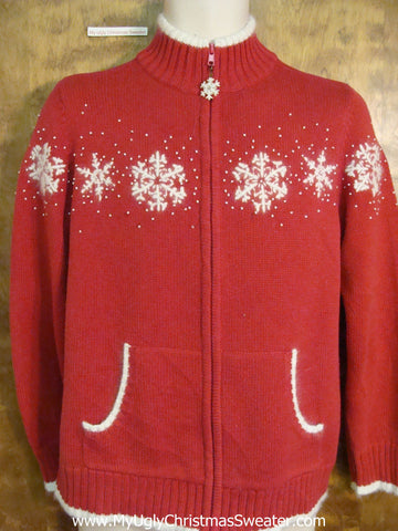 Classic Snowflake Themed Red  Christmas Sweater