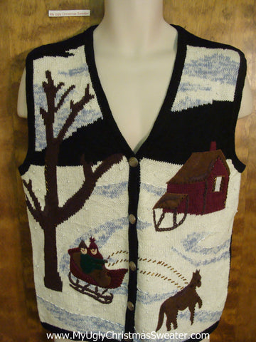 Holiday Sweater Vest with Horse and Sleigh in Winter