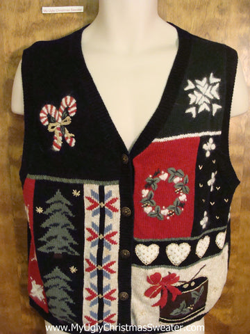 Holiday Sweater Vest with Candycanes Hearts and Trees