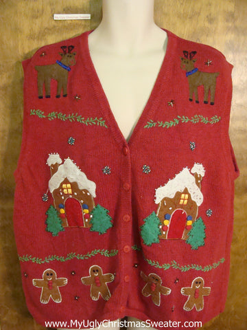 Holiday Sweater Vest with Gingerbread Houses and Reindeer