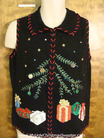 Holiday Sweater Vest with Crafty Embroidery