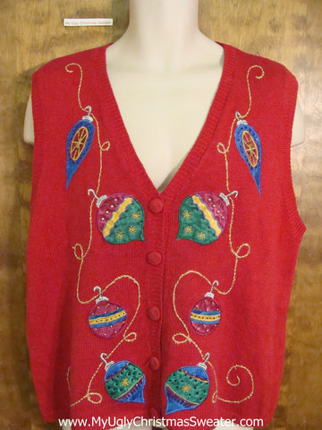 Holiday Sweater Vest with Colorful Ornaments