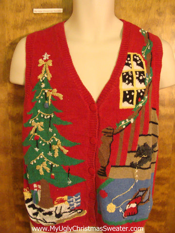 Holiday Sweater Vest with a Cozy Festive Homey Scene