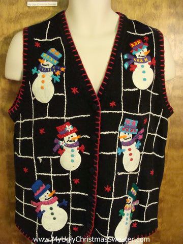 Holiday Sweater Vest with Snowman Spider Web