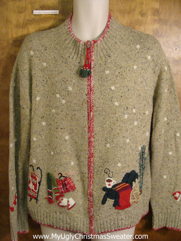 Holiday Sweater with Winter Sports Theme