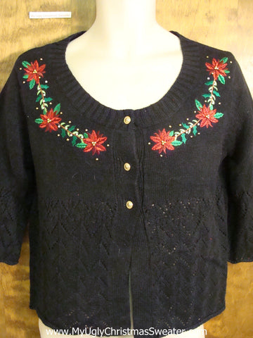 Cheap Holiday Sweater with Tacky Poinsettias