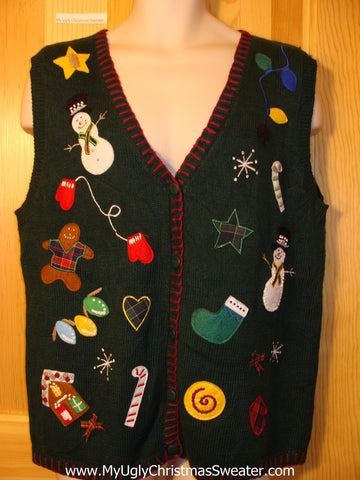 Tacky Ugly Christmas Sweater Vest with Random Decorations Including Gingerbread Man, Candy Cane, Stocking, Snowman and Snowflake  (f394)