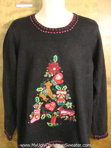 Holiday Sweater with a Collage Tree