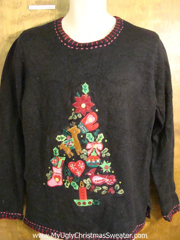 Black Holiday Sweater with a Puzzle Tree
