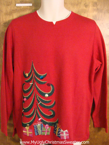 Holiday Sweater with Modern Art Tree