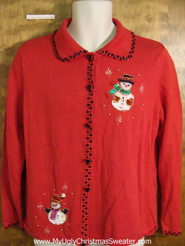 Cheap Red Holiday Sweater with Snowmen