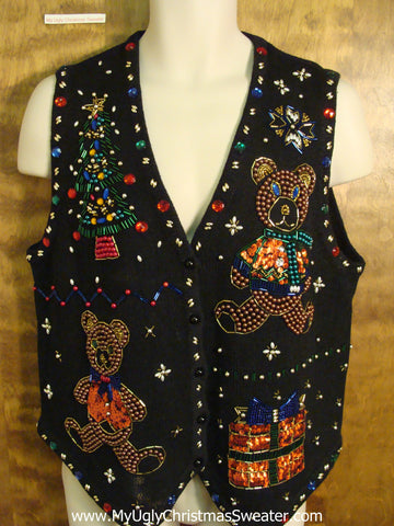 Bling Bears and Tree Holiday Sweater Vest