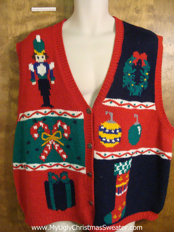Fun 80s Holiday Sweater Vest with Nutcracker and Candycanes