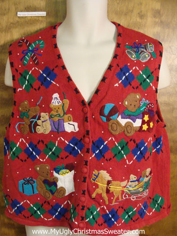 Bears and Horse 2sided Holiday Sweater Vest