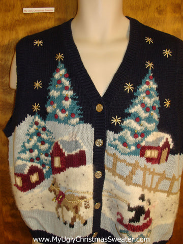 Winter Wonderland Horse and Sleigh Holiday Sweater Vest