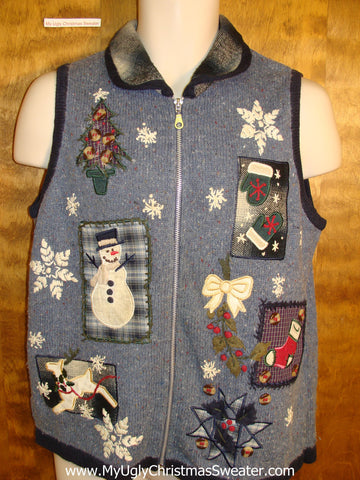 Crafty Holiday Sweater Vest with Plaid Collar