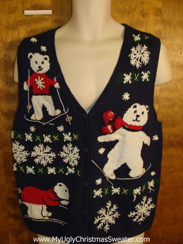 Holiday Sweater Vest with Skiing Bears