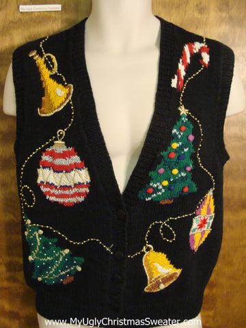 Holiday Sweater Vest with Ornaments and Trees