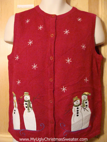 Tacky Ugly Christmas Sweater Vest with Snowmen (f396)