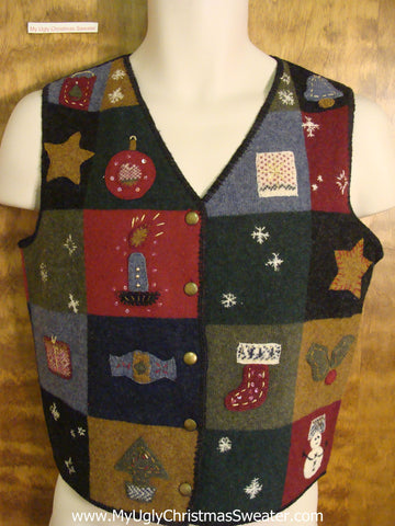 Patchwork Blocks Holiday Sweater Vest