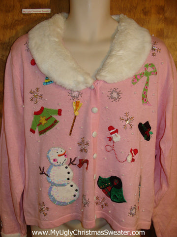 Fancy Pink Holiday Sweater with Fluffy Collar
