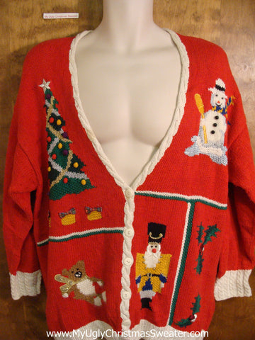 Colorful 80s Holiday Sweater with Padded Shoulders