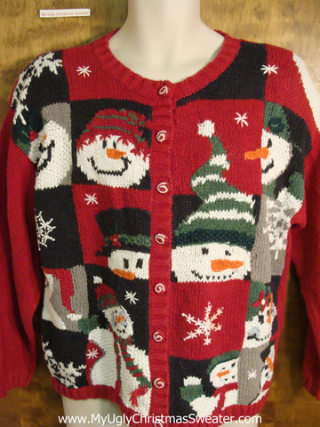 Carrot Nosed Snowmen 80s Holiday Sweater