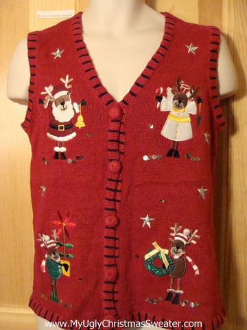 Tacky Ugly Christmas Sweater Vest with Santa and his Festive Reindeer (f397)