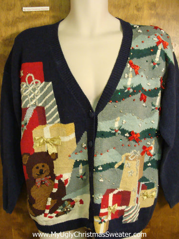 Huge Tree and Bear Holiday Sweater