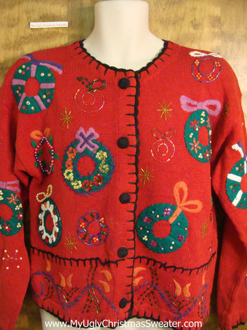 Red Holiday Sweater with Bling Wreaths