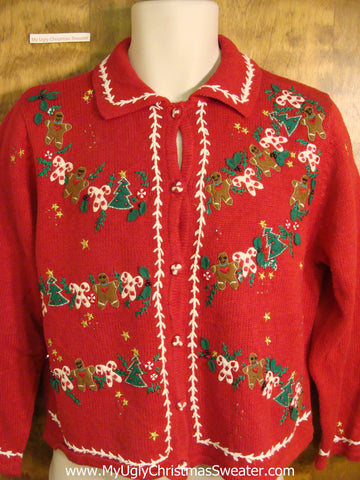 Holiday Sweater with Gingerbread Men and Candycanes