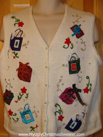 Tacky Ugly Christmas Sweater Vest with Floating Gifts(f398)