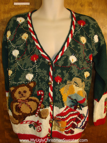 Tacky 80s Holiday Sweater with Bear and Tree