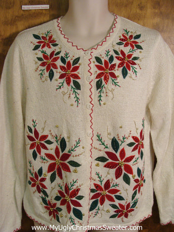 Poinsettia Forest Holiday Sweater