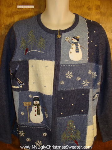 Blue Holiday Sweater with Snowman Patches