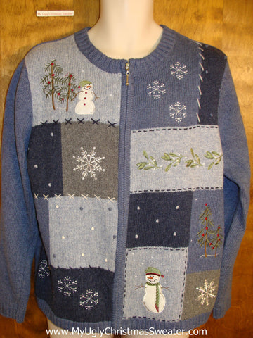 Blue Patchwork Themed Holiday Sweater