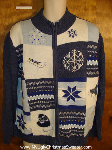 Snowflakes and Mittens Blue Holiday Sweater