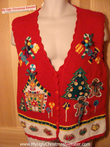 Tacky Ugly Christmas Sweater Vest 80s Classic Gingerbread House 3D Buttons & Bows  (f39)