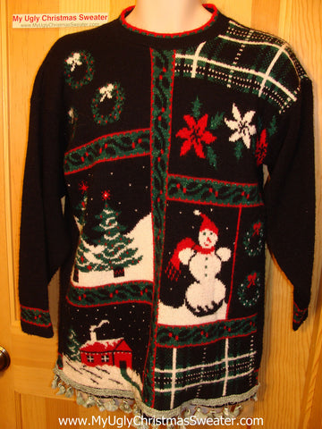 Tacky Ugly Christmas Sweater with Fringe 80s Classic Grid Pattern (f3)