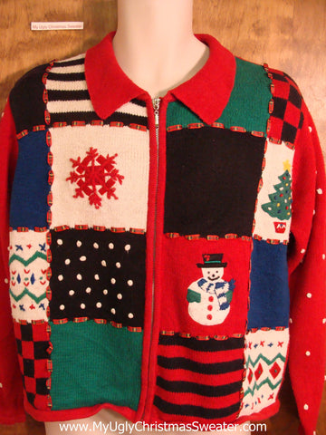Patchwork Blocks Novelty Funny Christmas Sweater