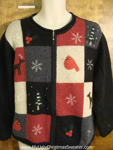 Cute Patchwork Novelty Funny Christmas Sweater
