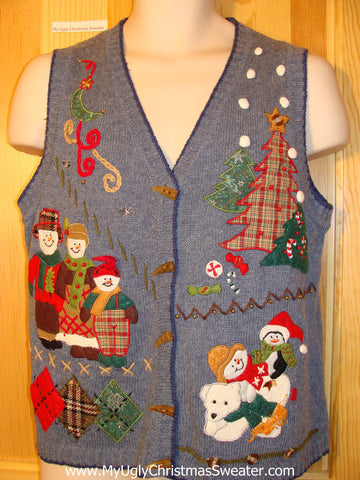 Tacky Ugly Christmas Sweater Vest with Crafty Plaid Snowman Farmers Family (f400)