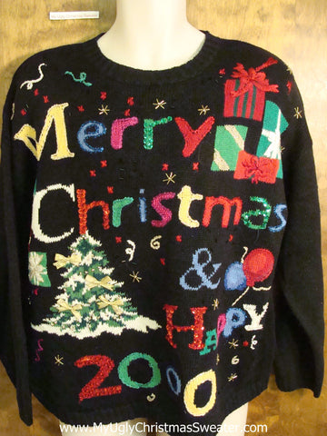 MERRY CHRISTMAS Happy New Year Holiday Sweater