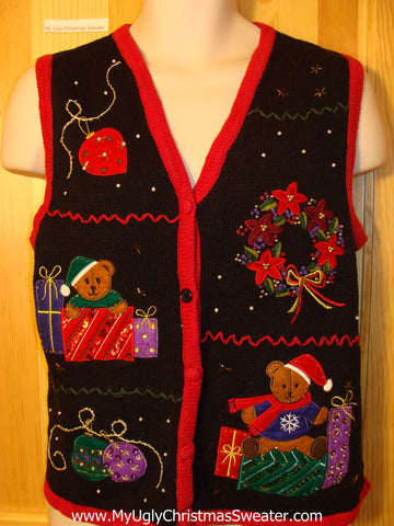Tacky Ugly Christmas Sweater Vest with Bead Bling and Bears (f401)